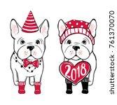 cute vector dog in winter... | Shutterstock .eps vector #761370070