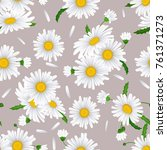 seamless pattern with camomile... | Shutterstock .eps vector #761371273