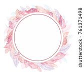 romantic feather vector frame... | Shutterstock .eps vector #761371498