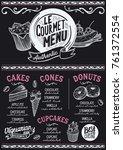 dessert menu for restaurant and ... | Shutterstock .eps vector #761372554