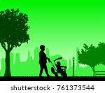 grandmother walking with her...   Shutterstock .eps vector #761373544