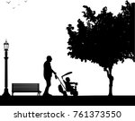 grandfather walking with his... | Shutterstock .eps vector #761373550