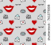 vector seamless pattern with... | Shutterstock .eps vector #761375008