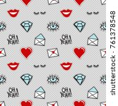 vector seamless pattern with... | Shutterstock .eps vector #761378548