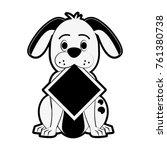 dog with roadsign cartoon | Shutterstock .eps vector #761380738