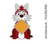 dog with roadsign cartoon | Shutterstock .eps vector #761381980