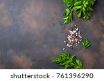 parsley  salt and pepper. herbs ... | Shutterstock . vector #761396290