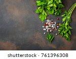 parsley  salt and pepper. herbs ... | Shutterstock . vector #761396308