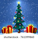 christmas background with... | Shutterstock .eps vector #761399860