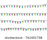 christmas glowing lights on... | Shutterstock .eps vector #761401738