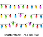 christmas glowing lights on... | Shutterstock .eps vector #761401750