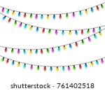 christmas glowing lights on... | Shutterstock .eps vector #761402518