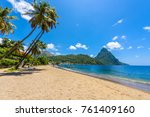 paradise beach at soufriere bay ... | Shutterstock . vector #761409160