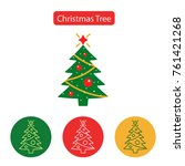 christmas tree outline icon on... | Shutterstock . vector #761421268