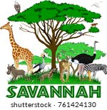 vector african savannah with... | Shutterstock .eps vector #761424130