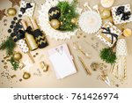 mockup card and notebook on...   Shutterstock . vector #761426974