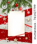 festive christmas card with fir ... | Shutterstock .eps vector #761427799