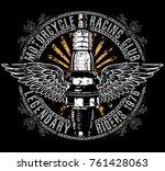 vintage motorcycle t shirt...   Shutterstock .eps vector #761428063