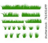grass borders set  green tufts... | Shutterstock .eps vector #761431699