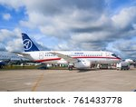 Small photo of The Zhukovsky Airfield, Moscow region, Russia - August 19, 2009: Passenger regional aircraft Superjet 100 (Sukhoi Superjet-100). MAKS 2009