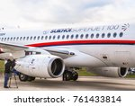 Small photo of The Zhukovsky Airfield, Moscow region, Russia - August 19, 2009: A fragment of a passenger regional jet, the Superjet 100 (Sukhoi Superjet-100). MAKS 2009