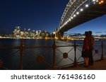 a romantic couple looks at... | Shutterstock . vector #761436160