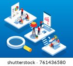 isometric concept team work | Shutterstock .eps vector #761436580