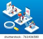 isometric concept team work | Shutterstock .eps vector #761436580