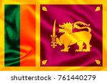 sri lanka flag   with waving... | Shutterstock . vector #761440279
