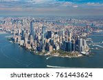aerial view of  manhattan ... | Shutterstock . vector #761443624