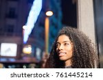 woman wondering in the city by... | Shutterstock . vector #761445214