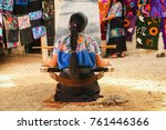 mexican woman working loom in... | Shutterstock . vector #761446366