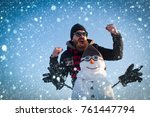 christmas new year snow concept ... | Shutterstock . vector #761447794