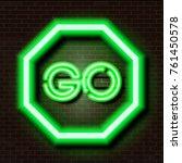Green Glowing Neon Road Sign O...