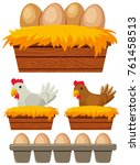 chicken and eggs in the nest... | Shutterstock .eps vector #761458513