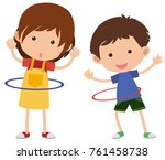 two kids playing hulahoop... | Shutterstock .eps vector #761458738
