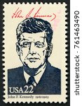 Small photo of UNITED STATES OF AMERICA - CIRCA 1986: stamp printed in USA shows 35th president John F. Kennedy (1961-1963); Presidents; Ameripex 86; Scott 2219 A1599 22c; circa 1986