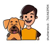 boy with cute dog   Shutterstock .eps vector #761463904