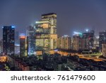 Small photo of Shenzhen, China - October 2017 - The Tencent building in the evening, the lights are very beautiful, Tencent is increasingly becoming a company affecting the world.