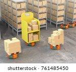 orange robot carriers carrying... | Shutterstock . vector #761485450