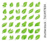 leaf icons set. leaves logo.... | Shutterstock .eps vector #761497834