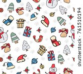 seamless pattern with christmas ... | Shutterstock .eps vector #761510194