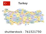flag and map of turkey with the ... | Shutterstock .eps vector #761521750