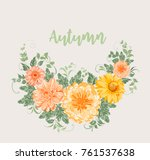 yellow autumn flowers.... | Shutterstock .eps vector #761537638