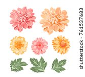 set of chrysanthemum flowers... | Shutterstock .eps vector #761537683