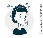 person dizzy and headache | Shutterstock .eps vector #761541700