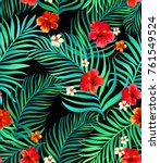 seamless tropical pattern with... | Shutterstock .eps vector #761549524