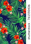 seamless hand drawn tropical... | Shutterstock .eps vector #761550436