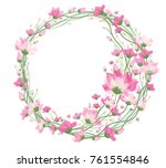 vector pink  floral circle...   Shutterstock .eps vector #761554846
