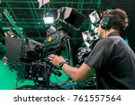 cameraman taking a broadcast... | Shutterstock . vector #761557564